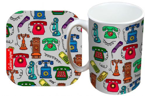 Selina-Jayne Telephones Limited Edition Designer Mug and Coaster Gift Set